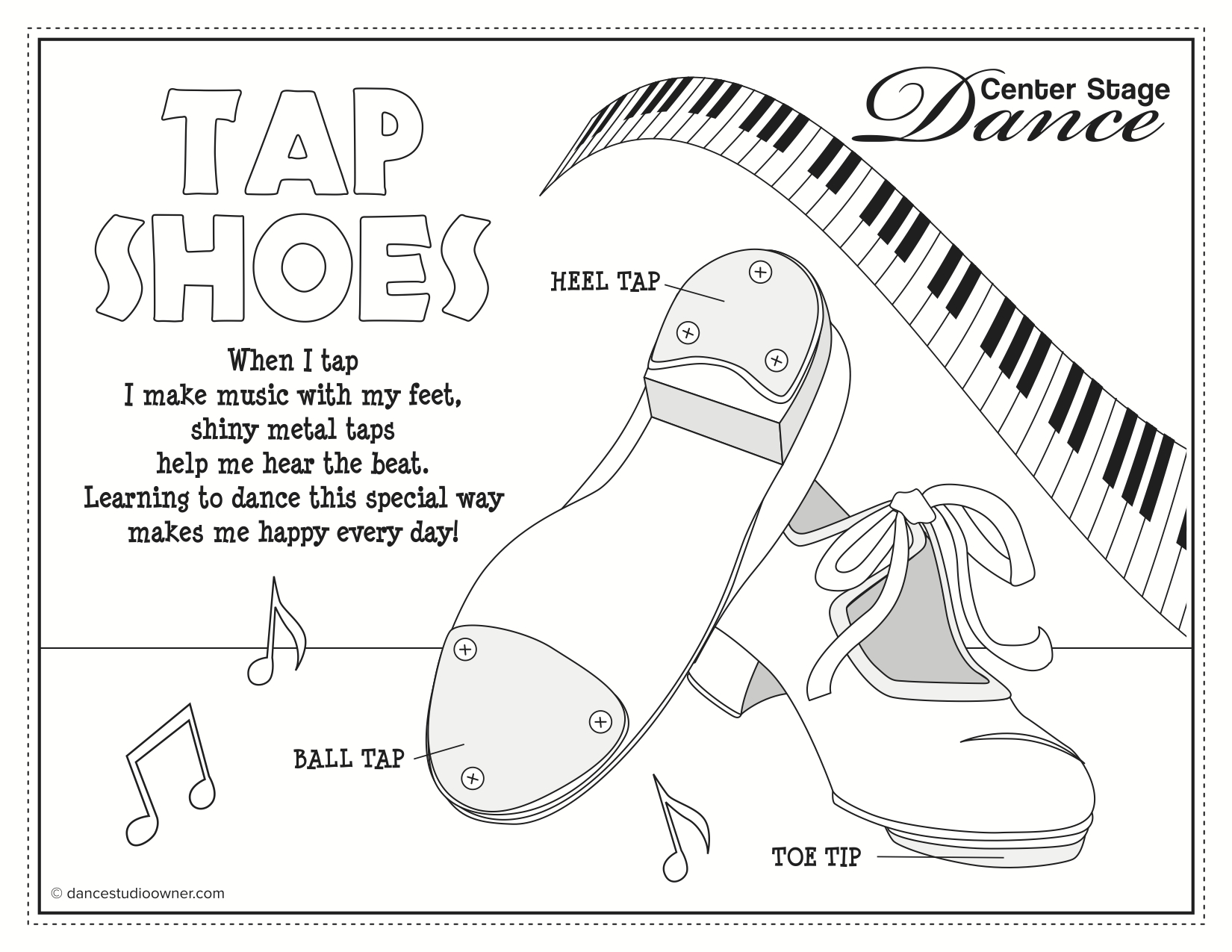 Tap Dance Colouring Pages
